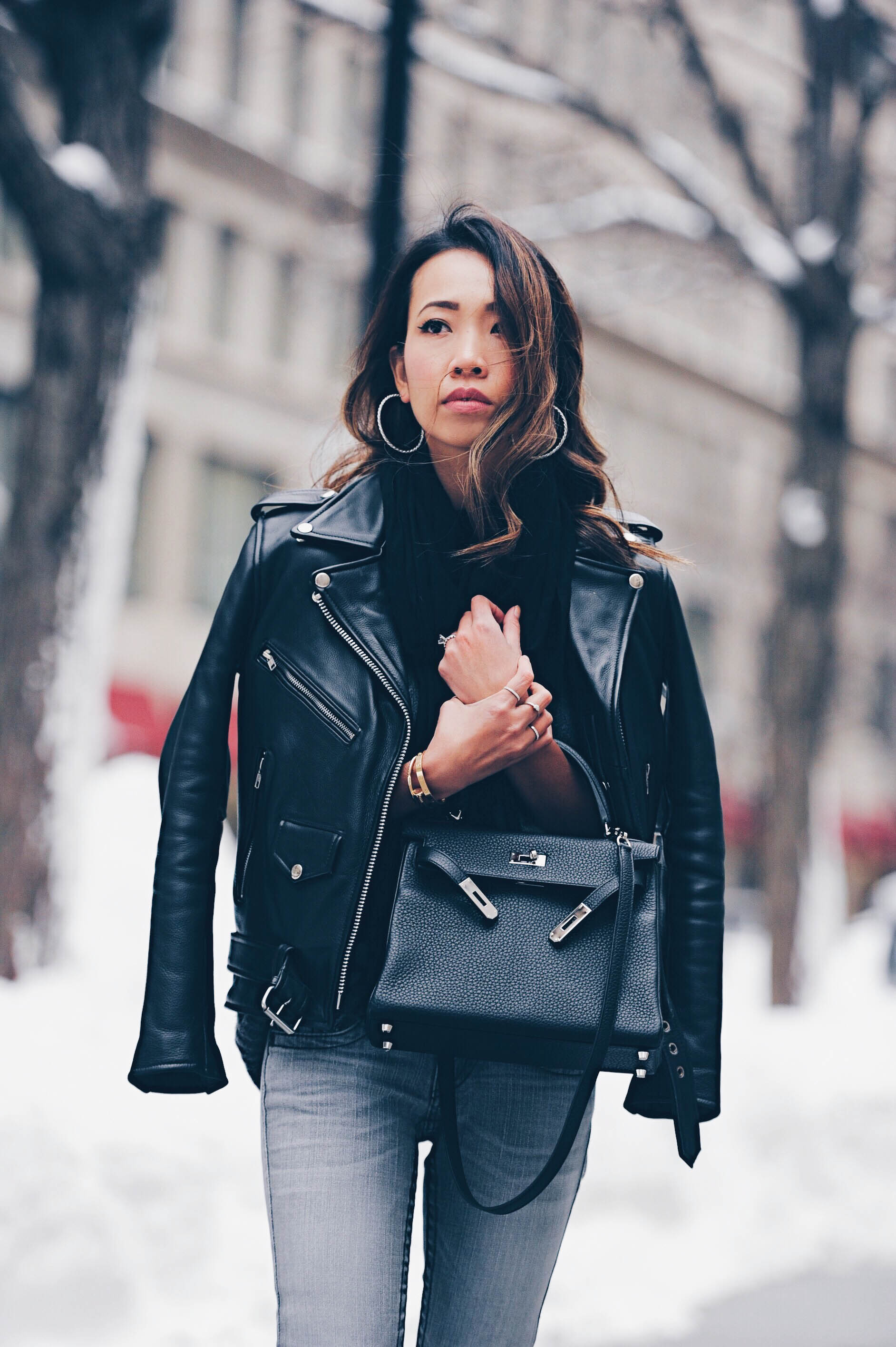 edgy style leather jacket